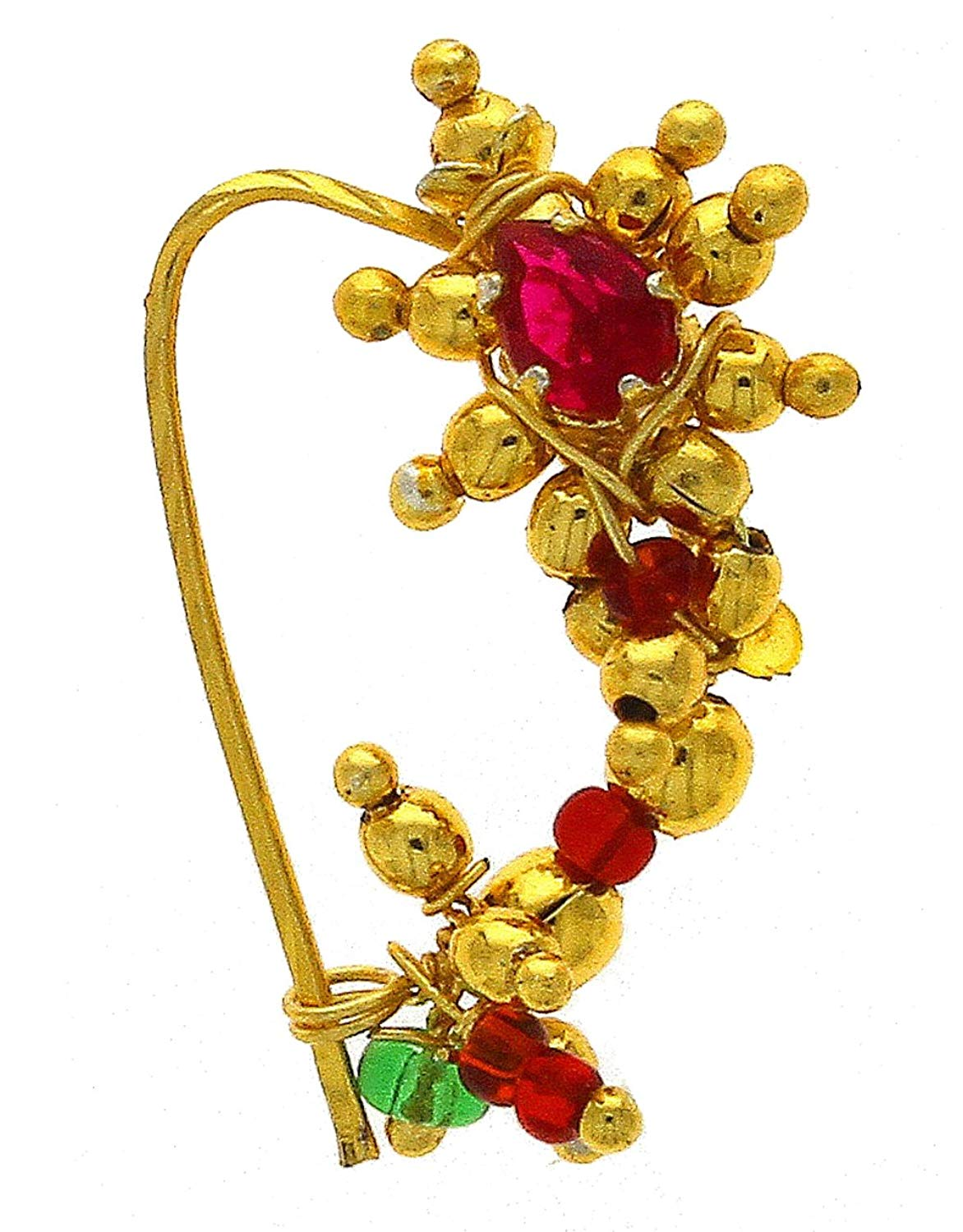 Anuradha Art Golden Finish Styled With Pink Colour Stone Traditional Maharashtrian Nath/Nose Ring For Women/Girls