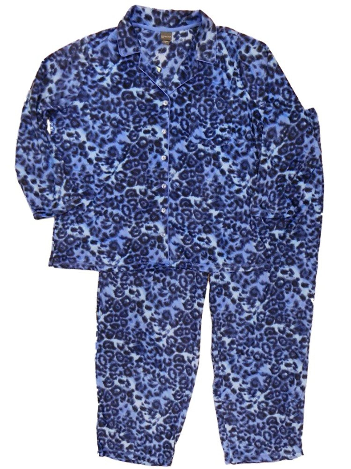 a128fb6855 Get Quotations · Covington Womens Blue Leopard Pajamas Cheetah Animal Print  Fleece Sleep Set Plus Size