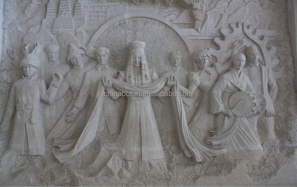 White marble stone carved d wall angel relief interior