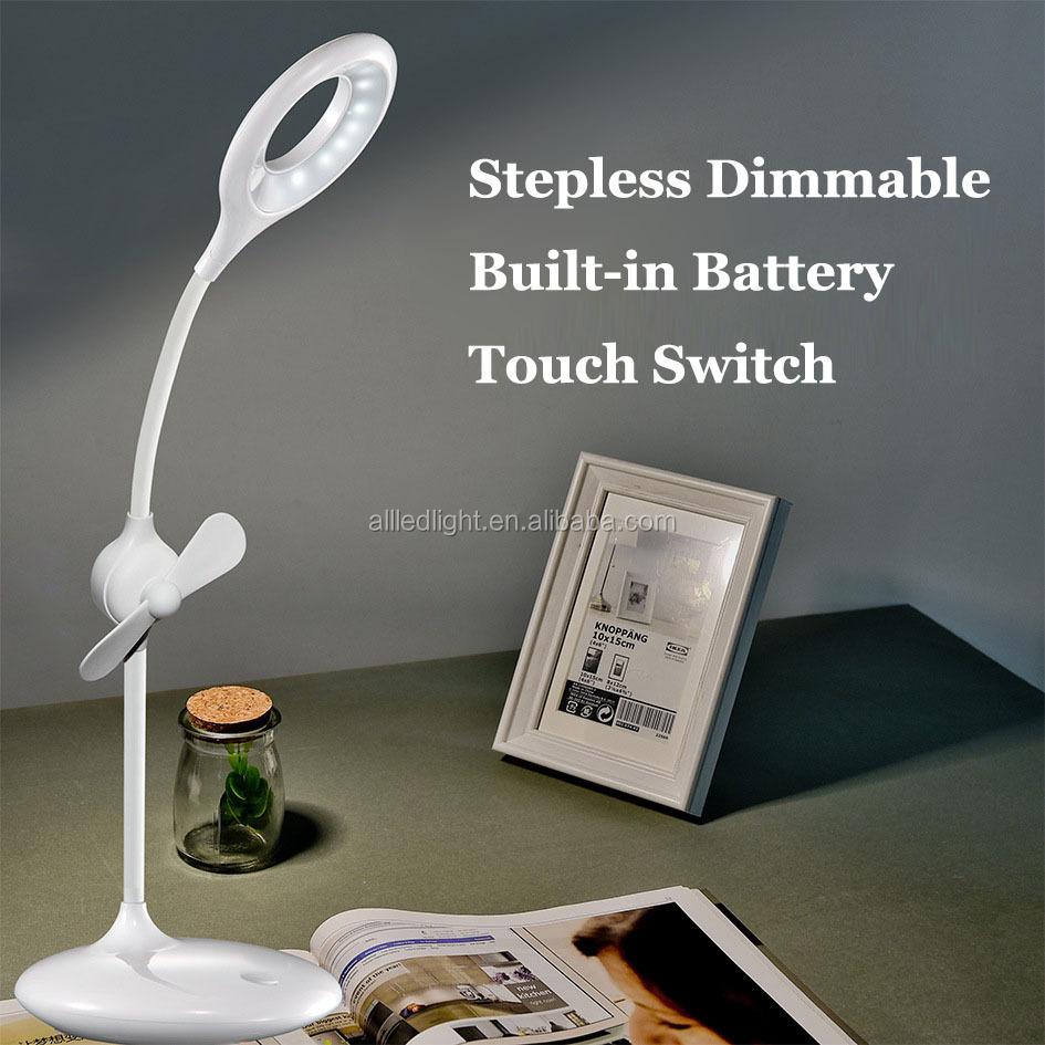 usb ventilador con led recargable lmpara de mesa de luz del escritorio de la proteccin de
