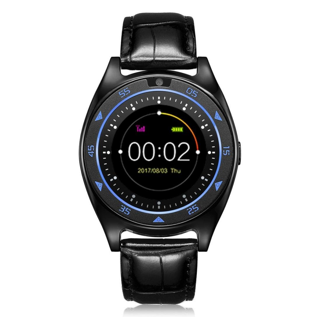 LtrottedJ Heart Rate Blood Pressure Monitor Slot Wrist Waterproof Bluetooth Smart Watch (Black)