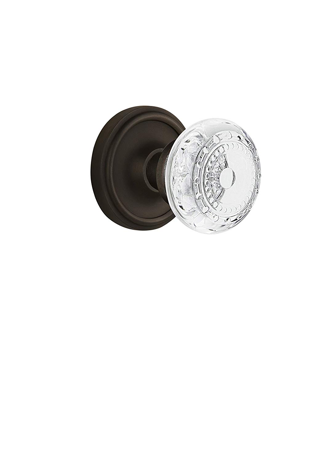 """Nostalgic Warehouse 751855 Classic Rosette Privacy Crystal Meadows Door Knob, Backset Size: 2.75"""", Oil-Rubbed Bronze"""