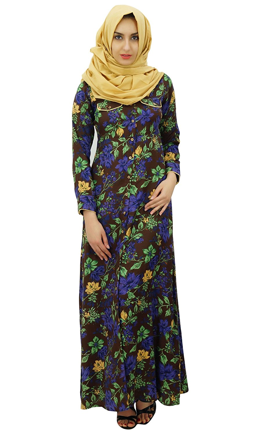 267ed7a3350 Get Quotations · Bimba Womens Muslim Printed Jilbab Dress Designer Pashmina Maxi  Abaya With Pockets   Hijab