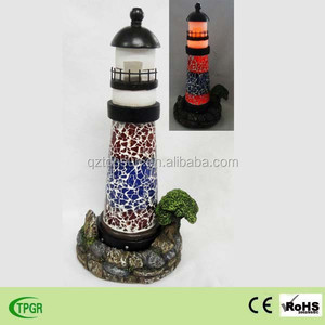 Polyresin lighthouse with solar light for garden decoration light