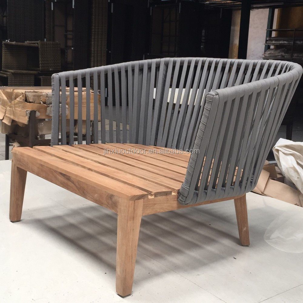 Garden Outdoor Furniture Teak Wood Base Rope Weaving Sofa