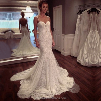 5715bb2615b High quality Off White French Lace Mermaid Wedding Dress 2017 Court Train Bridal  Gowns Spaghetti Straps