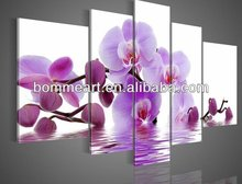 hand-painted oil wall art A few purple flowers side home decoration abstract Landscape oil painting on canvas 5pcs/set mixorde