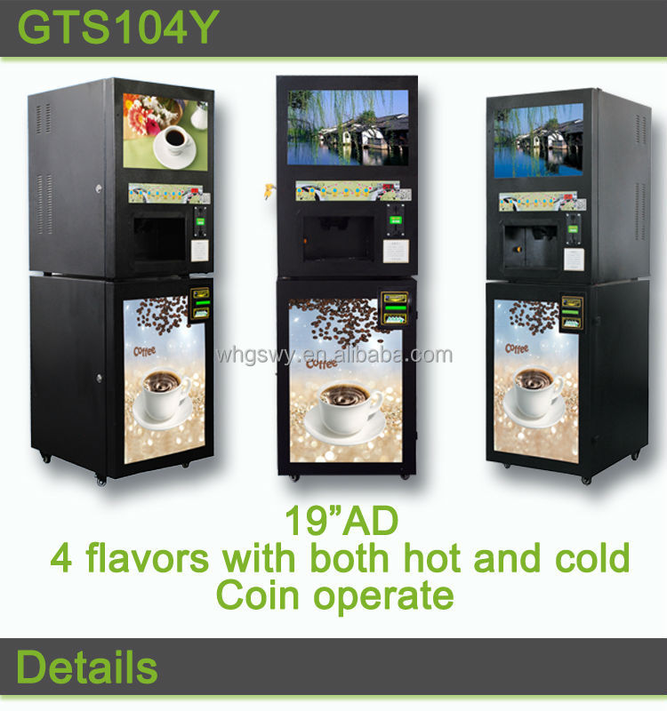 Instant powder coffee vending machine 4 canister with paper money validator