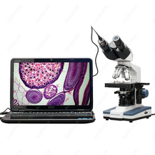 AmScope Supplies 40X-2500X LED Digital Binocular Compound Microscope with 3D Stage + USB Camera