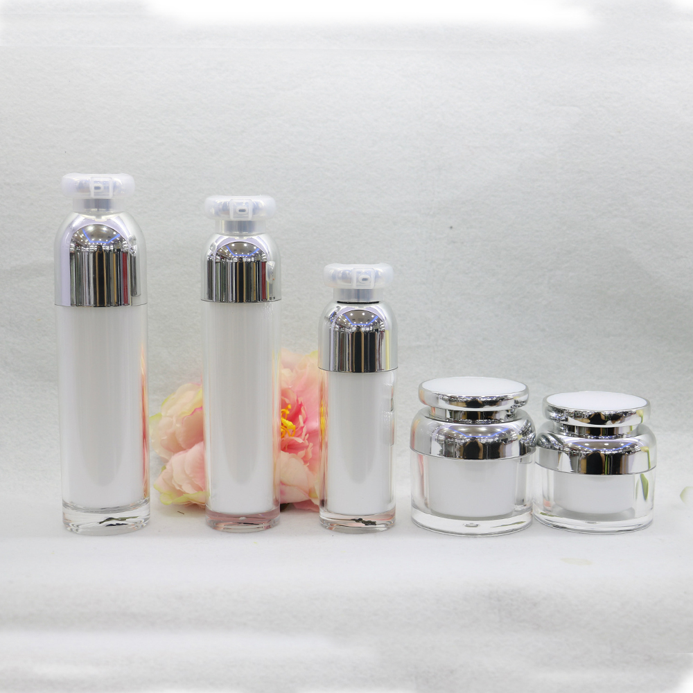 Luxury New Design 30g 50g Acrylic Jar with lotion pump bottle 15ml 30ml 50ml 100ml for Cosmetic packaging