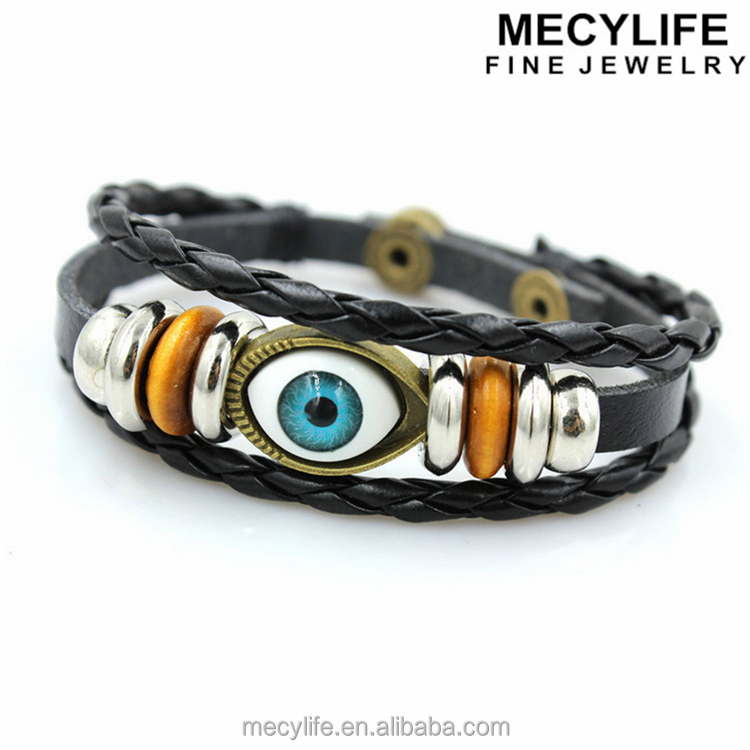 MECYLIFE wholesale Turkey braided leather evil eye bracelet with blue eyes