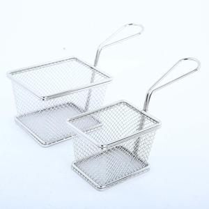 Food Safe Stainless Steel Potato Chip Frying Container Fry Basket