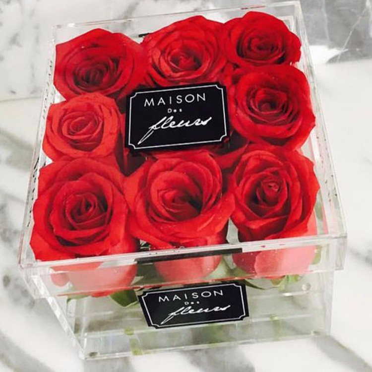 Transparent Custom Made Flower Box Packaging Acrylic Rose