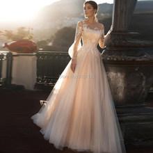 Свадебное платье цвета шампанского трапециевидной формы 2020, Пляжное длинное платье с пышными рукавами, кружевной аппликацией, шнуровкой и ...(China)