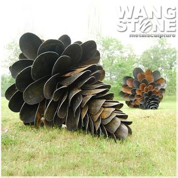 Giant Pine Cone Corten Steel Rusty Metal Garden Art Sculpture