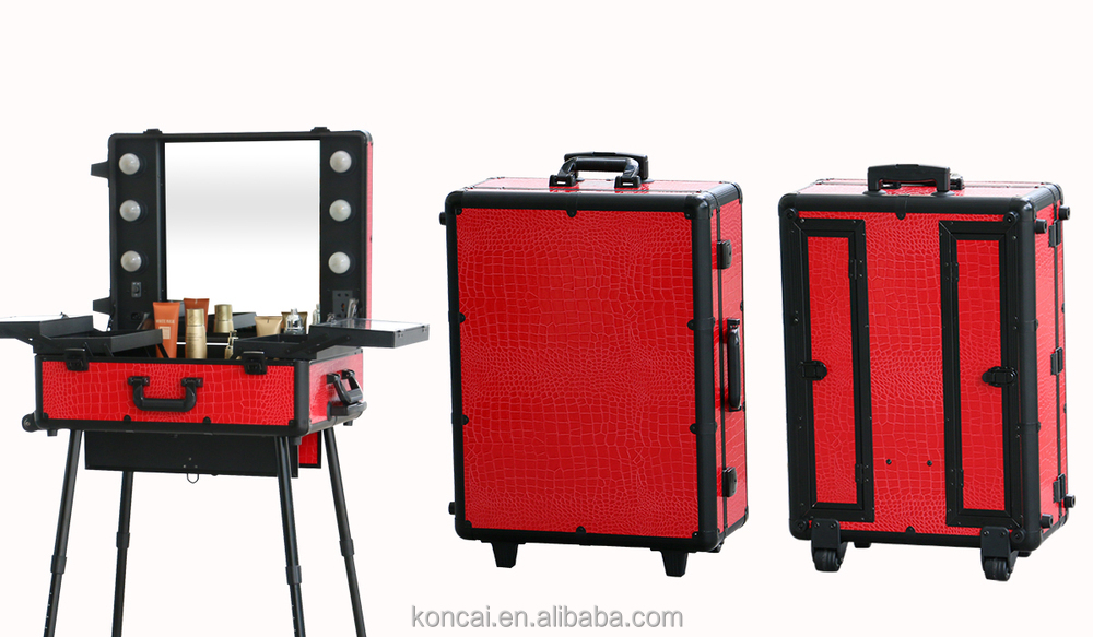 MOQ:1pc , Mobile Professional Portable Aluminum Makeup Case With Lights  /rolling Trolley Makeup