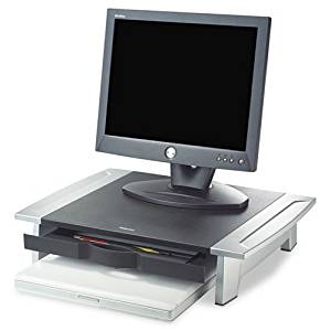 FELLOWES MANUFACTURING Office Suites Monitor Riser, 20 x 14 1/16 x 4 - 6 1/2, Black/Silver (8031101)