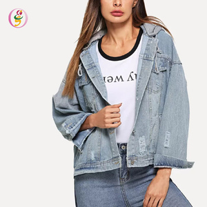 2a9b120264 Letter Embroidered Hooded Denim Jacket Ladies Button Up Detail Workout Jean  Jacket
