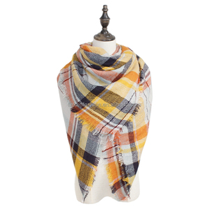 Wholesale 60 color fashion italian pashmina scarf Oversized Checked plaid pashmina plaid blanket shawl scarf