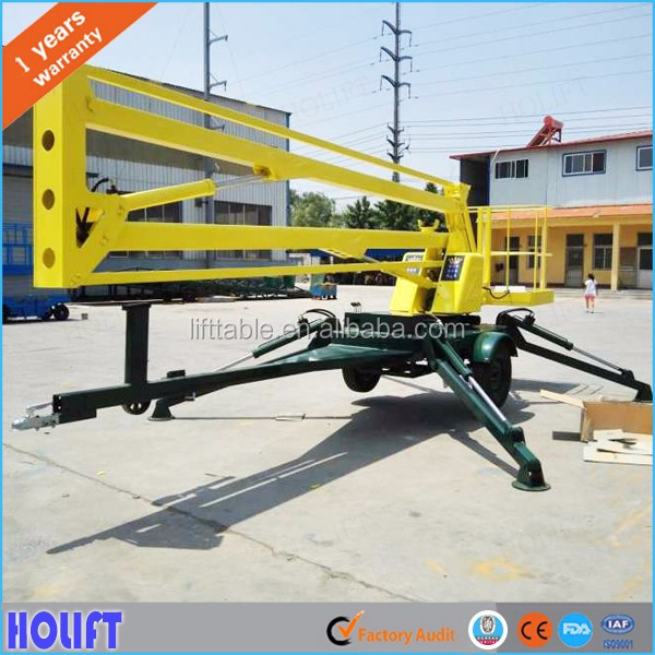 Good efficiency 12m lifting height mobile hydraulic vehicle mounted articulated boom lift for street light maintenance