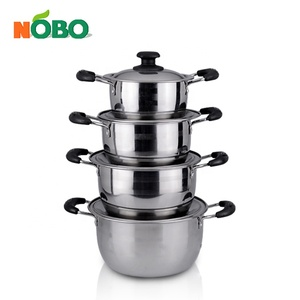 8 pcs stainless steel cookware set korean cookwing pot set with bakelite handle and knob