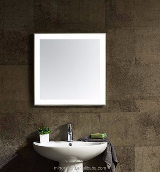 Electroplating Frame Bathroom Mirror With LED Lights Illuminated MD001