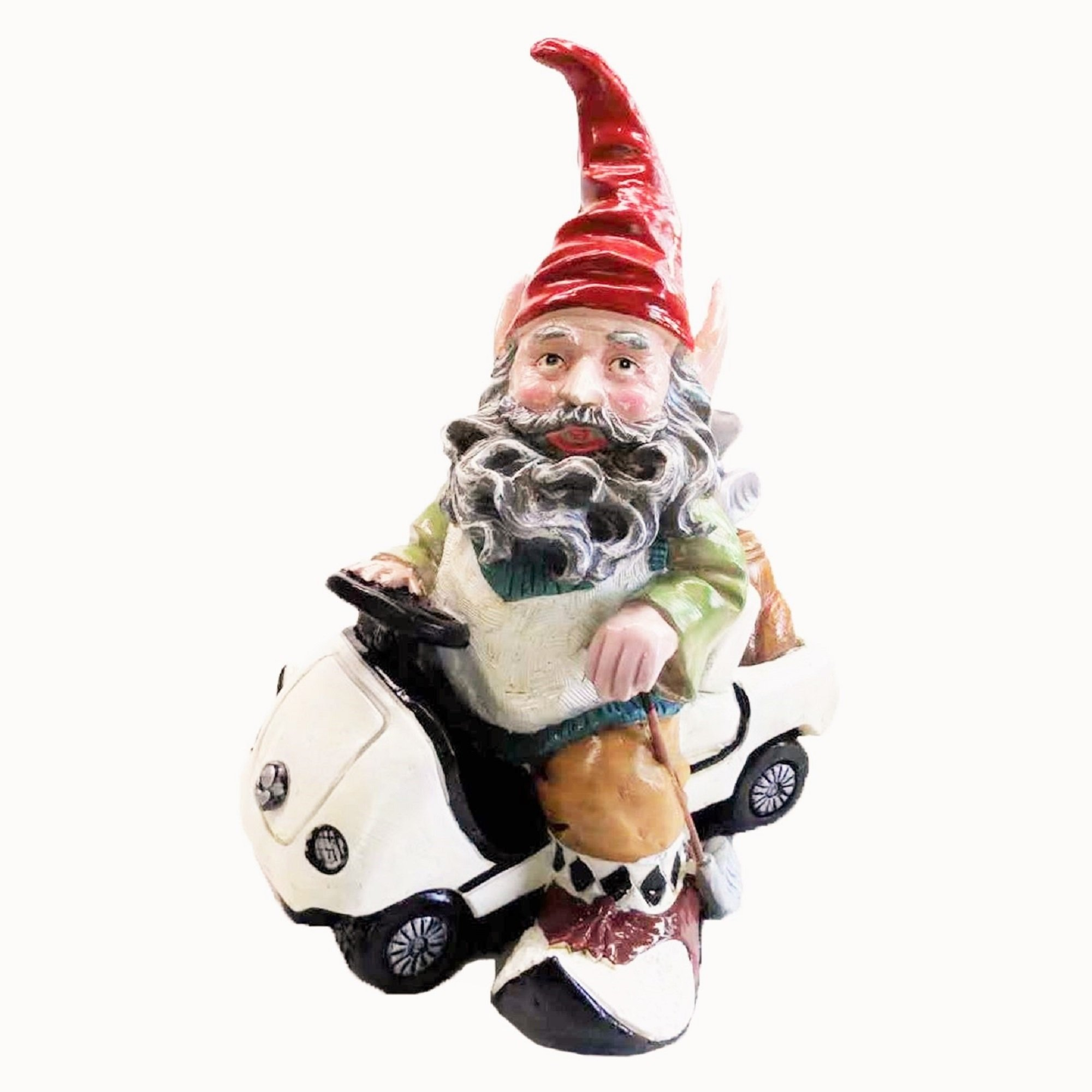 """Nowaday Gnomes Greg the Golfer Gnome in His Golf Cart Holding a Golf Club Home & Garden Gnome Statue 12"""" H"""