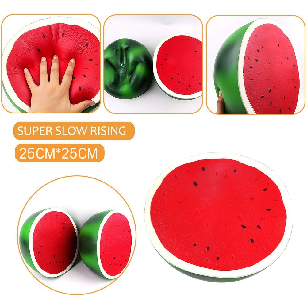 Chengcaifengye Squishies, 10 Inch Huge Watermelon PU Slow Rebound Fruit Decompression Squishy Toys Kawaii Squishy Jumbo Slow Rising Squishies Cream Scented Kid Toy Charm Gift for Stress Relief