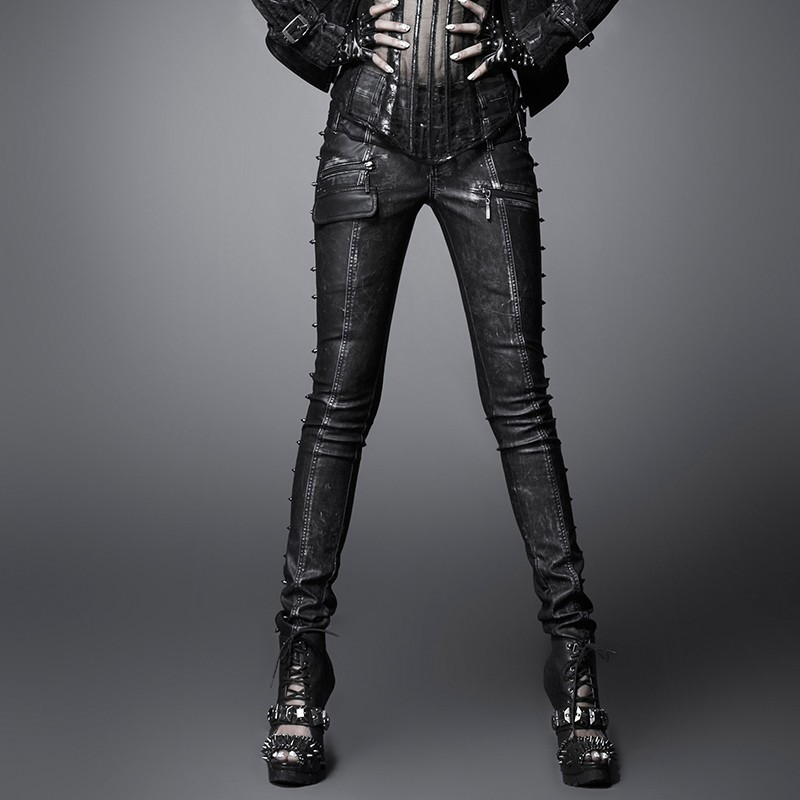 Punkrave Sexy Womens Special Black And Copper Genuine Leather Pants