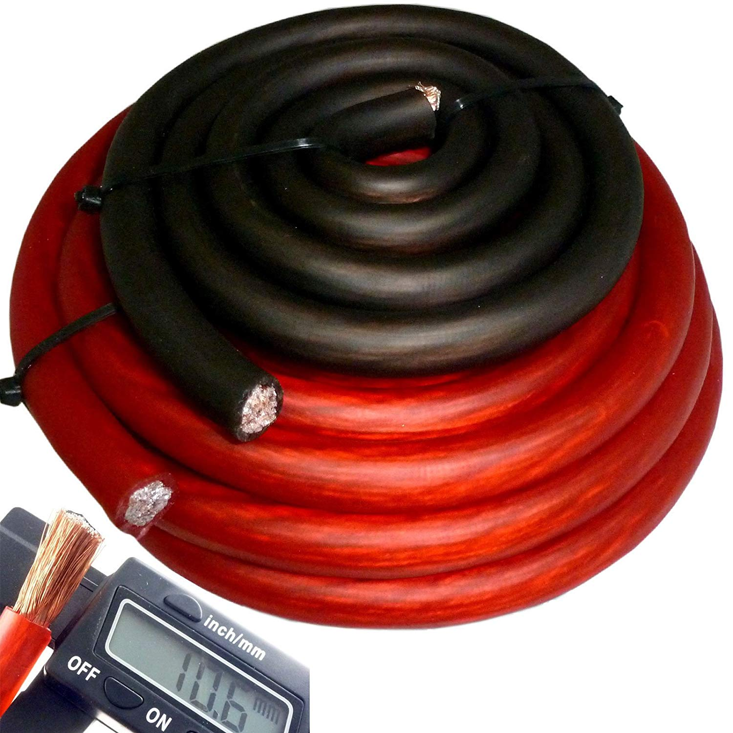 Hyperflex 20' ft 4 Gauge Red Car Audio Power Ground Wire Cable 20 Feet +