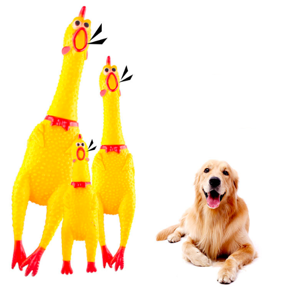Pet Cartoon Bite Toy Yellow Screaming Chicken Rubber Vinyl Squeaky Pet Dog Chew Toy