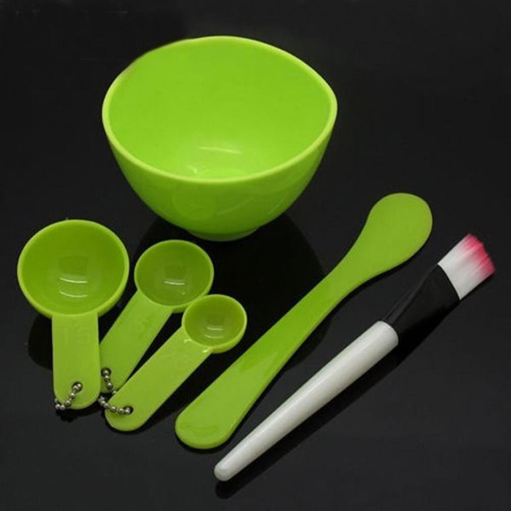 6 in 1 Face Mask Mixing Bowl Kit DIY Facial Mask Bowl Brush Spatula Gauge Spoon Set Face Care Makeup Masks Treatments for Personal Beauty Care (Green)