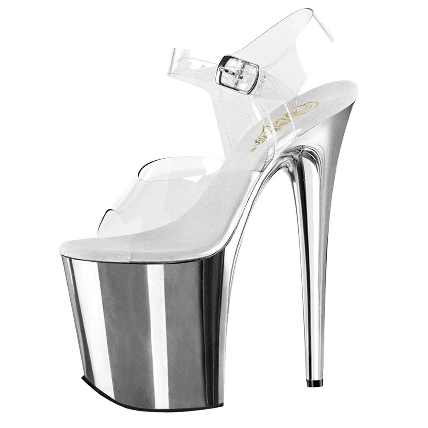 7f90e640f91 Get Quotations · Summitfashions Womens Silver High Heels Clear Ankle Strap Shoes  Platform Sandals 8 Inch Heels