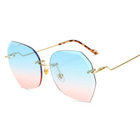 XojoX Luxury Rimless Sunglasses Women Vintage Brand Design Oversized Diamond Cutting Lens 2019 Sun Glasses Ladies Eyeglasses
