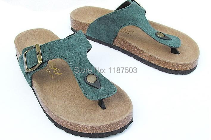 79b02ff31c3c Buy Free shipping classic genuine leather birkenstock sandals men beach  cork sandals genuine leather cork Flip flops