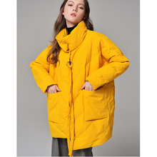 Winter straight thick padded white down jacket irregular duck down woman coat