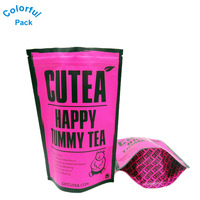 Hot Sale custom printing moisture proof stand up zipper top food grade Empty tea bag biodegradable with tear notch