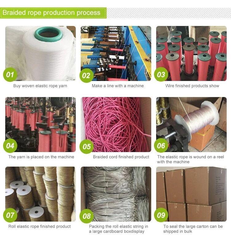De color de nylon trenzado de poliéster trenzado cuerda de papel de regalo bolsa de cuerda