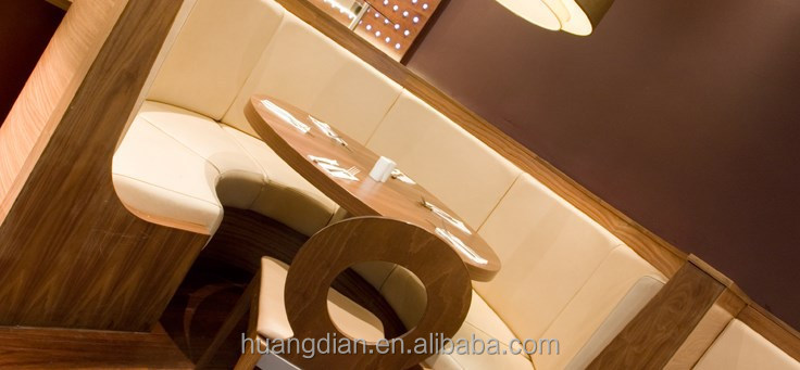 wooden style leather club mordern restaurant booth cheap furniture