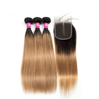 Latest Coming Soft Straight 1B 27 Color 100% Virgin Hair Middle Part With Baby Hair Closure