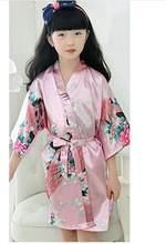 Детский Атласный халат, детское летнее кимоно, банные халаты, платье подружки невесты с цветами, Шелковый детский халат, ночная рубашка, хал...(Китай)