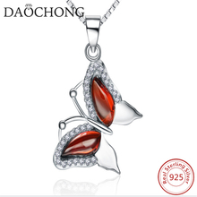 2016 Latest fashion jewelry rodhium plating red zircon butterfly necklaces for girlfriend
