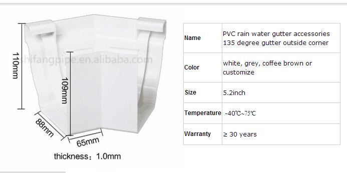Pvc Gutter 135 Degree Outside Corner For Pvc Rainwater