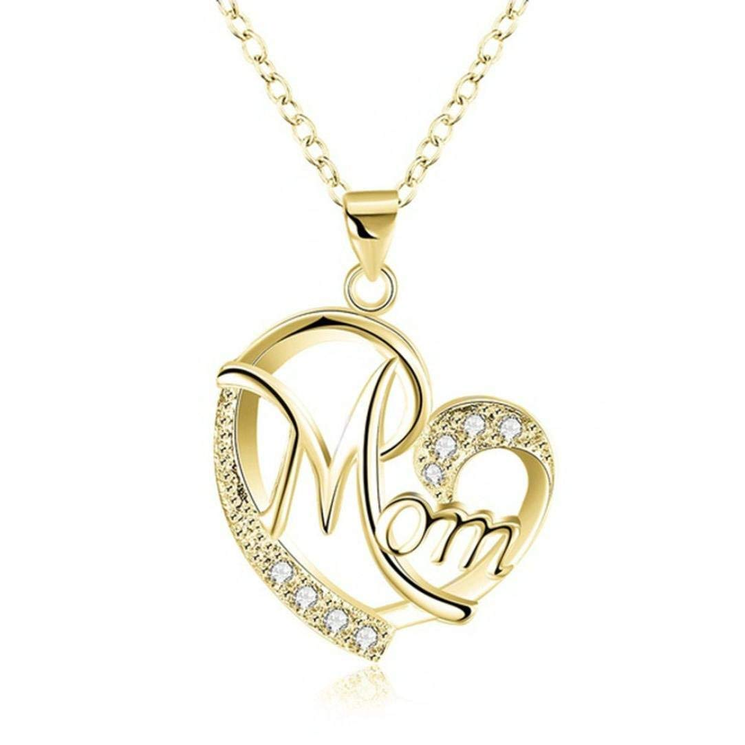 GiftJewelryShop Gold-Plated Heart Shape Cloud White Crystal Charm Pendant Necklace