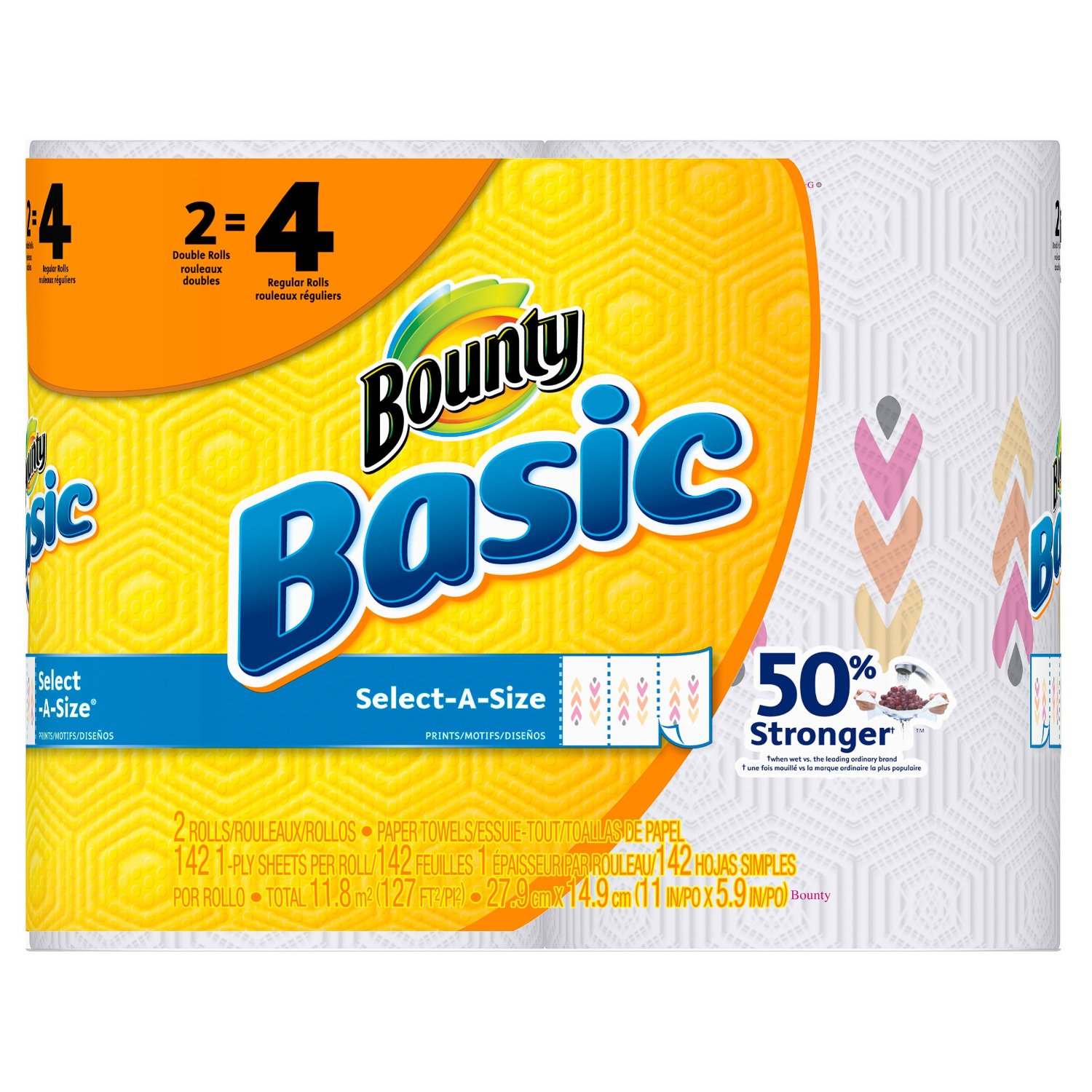 Bounty Paper Towels, Basic Select-a-Size Paper Towels, Prints, Double Roll Paper Towels, 2 Count (Pack of 12)