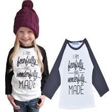 nuevo muchachas de la manga larga tee tops letra impresa hecho beb camisetas de