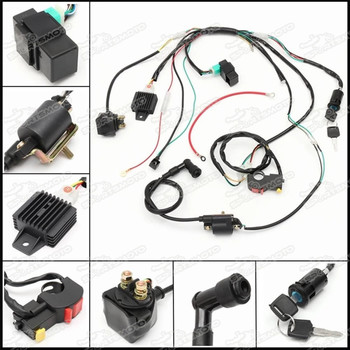 Complete Full Electrics Wiring Loom Wire Harness 70cc 90cc 110cc 125cc on