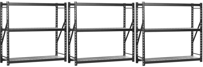 "EDSAL 72"" H x 72"" W x 24"" D Steel Welded Storage Rack, Black (Pack of 3)"