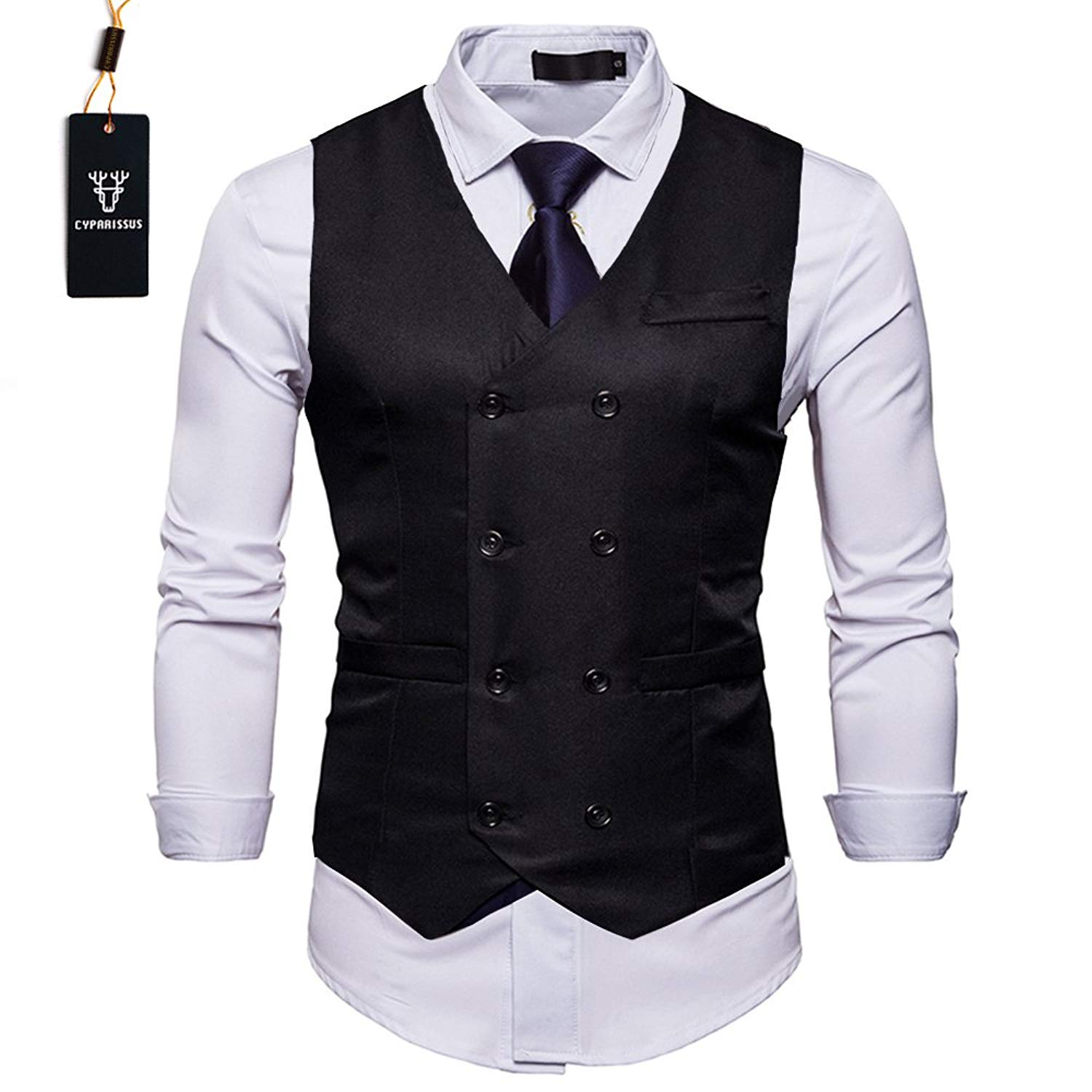35e137dad8ec16 Get Quotations · Cyparissus Mens Vest Waistcoat Men s Suit Dress Vest for  Men Tuxedo Vest