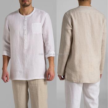 Manga larga media tapeta de botones blusa camisas de lino chaqueta camisa de  los hombres para c142fc521c73